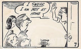 NOBODY HOME HIDING FROM NEIGHBORS HUMOR ORIGINAL NEWSPAPER CARTOONIST INK SKETCH - K-townConsignments