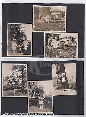 CUTE LITTLE GIRL STEIFF BEAR & FEEDING PET SQUIRREL ANTIQUE SNAPSHOT PHOTOS - K-townConsignments