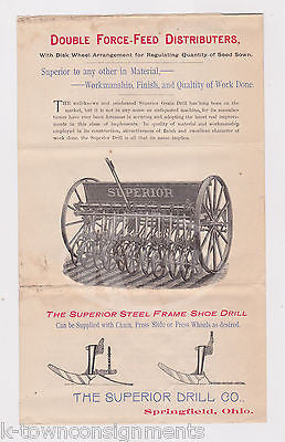SUPERIOR DRILL Co FARMING IMPLIMENTS ANTIQUE GRAPHIC ADVERTISING POSTER 1890s - K-townConsignments