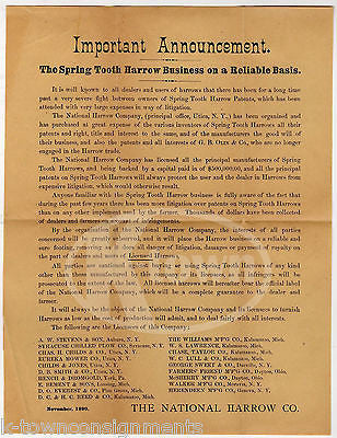 NATIONAL HARROW COMPANY FARMING EQUIPMENT ANTIQUE ADVERTISING BROADSIDE 1890 - K-townConsignments