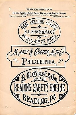 READING PA SAFETY ENGINE COMPANY CREST ANTIQUE SALES CATALOG ADVERTISING  PAGE