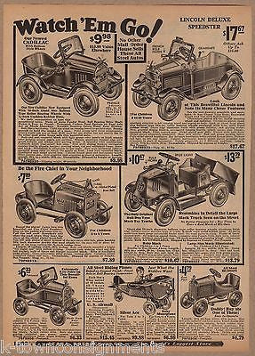 CADILLAC MACK TRUCK FIRE CAR ANTIQUE SEARS ROEBUCK PEDAL CARS ADVERTISING PRINT - K-townConsignments