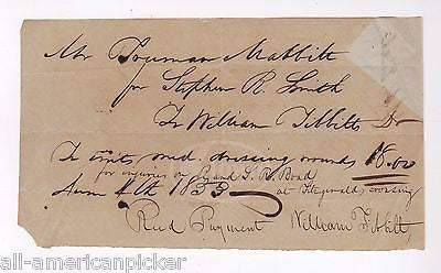 William Tibbitt Saratoga New York Doctor 1853 Antique Autograph Signed Document - K-townConsignments