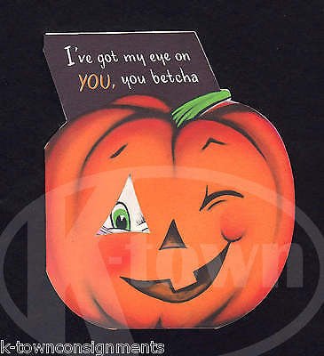Black Cat & Jack-O-Lantern Pumpkin Vintage Graphic Art Halloween Greetings Card - K-townConsignments