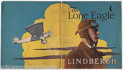 CHARLES LINDBERGH THE LONE EAGLE PILOT ANTIQUE GRAPHIC ART BOOK COVER PRINT 1929 - K-townConsignments