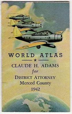 CLAUDE ADAMS DISTRICT ATTORNEY VINTAGE WWII AVIATION MINI WORLD ATLAS BOOKLET - K-townConsignments