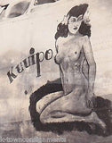 KUUIPO HAWAIIAN GIRL PIN-UP WWII BOMBER PLANE NOSE ART WWII SNAPSHOT PHOTO - K-townConsignments