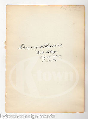CHAUNCEY GOODRICH YALE GRADUATE WEBSTERS DICTIONARY ANTIQUE AUTOGRAPH SIGNATURE - K-townConsignments
