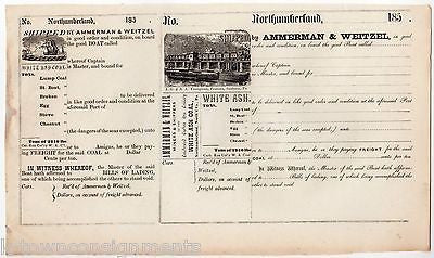 NOTHUMBERLAND PA AMMERMAN & WEITZEL WHITE ASH COAL ANTIQUE LEDGER DOCUMENT 1850s - K-townConsignments