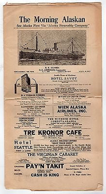 ALASKA STEAMSHIP COMPANY ANTIQUE 1930s TRAVEL ADVERTISING SHIP NEWSLETTERS LOT - K-townConsignments