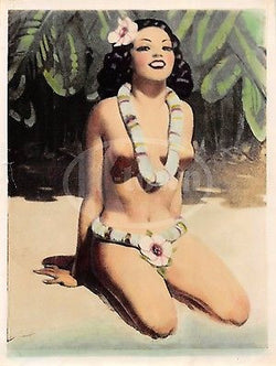HAWAIIAN ISLAND GIRL VINTAGE WWII GRAPHIC ART RISQUE PIN-UP CARTOON PHOTOGRAPH - K-townConsignments
