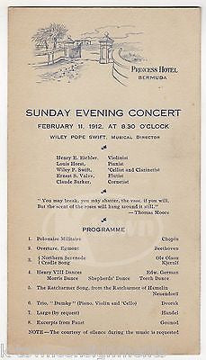 PRINCESS HOTEL BERMUDA ANTIQUE GRAPHIC ILLUSTRATED MUSIC CONCERT BILL CARD 1912 - K-townConsignments