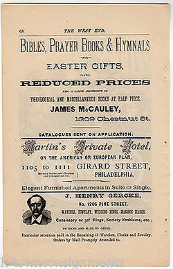McCAULEY'S CHRISTIAN BOOK STORE MARTIN'S HOTEL PHILA PA ANTIQUE ADVERTISING PAGE - K-townConsignments