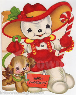 Christmas Snowman & Cute Puppy Vintage Red Velvet Graphic Art Greetings Card - K-townConsignments