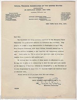 WWI PEACE ANTI-WAR PACIFISM MARCH ON WASHINGTON SIGNED PRO MILITARY NAVAL LETTER - K-townConsignments
