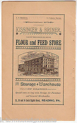 Kissinger Briner Flour & Seed Store Reading PA Antique Graphic Advertising Print - K-townConsignments