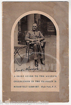 FRANKLIN ROOSEVELT LIBRARY MUSEUM HYDE PARK NY VINTAGE SOUVENIR BROCHURE FLYER - K-townConsignments