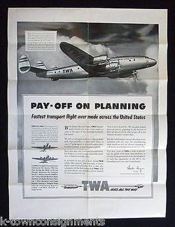 TWA CONSTELLATION AIRPLANE VINTAGE ADVERTISING SALES SAMPLE BROCHURE POSTER - K-townConsignments