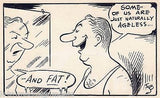 FACE IN THE MIRROR OVERWEIGHT HUMOR ORIGINAL SIGNED NEWS CARTOON INK SKETCH - K-townConsignments