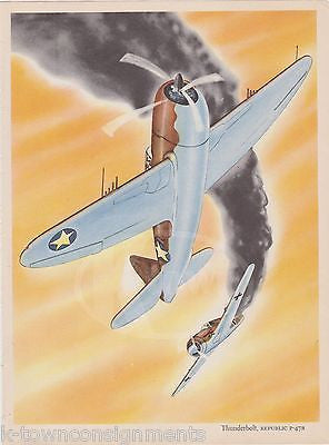 REPUBLIC P-47 THUNDERBOLT FIGHTER PLANE WWII MILITARY AVIATION GRAPHIC ART PRINT - K-townConsignments