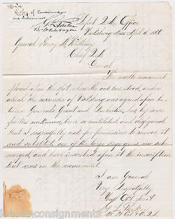 CIVIL WAR PEMBERTON VICKSBURG SURRENDER MONUMENT OFFICIAL MILITARY LETTERS 1866 - K-townConsignments