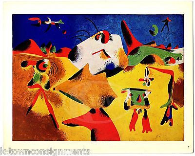 JOAN MIRO FIGURES MOUNTAINS SKY STAR VINTAGE SURREALIST ARTIST GRAPHIC ART PRINT - K-townConsignments