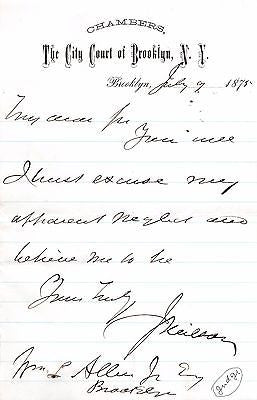 JUDGE NEILSON BROOKLYN CITY COURT NEW YORK ANTIQUE AUTOGRAPH SIGNED LETTER 1875 - K-townConsignments