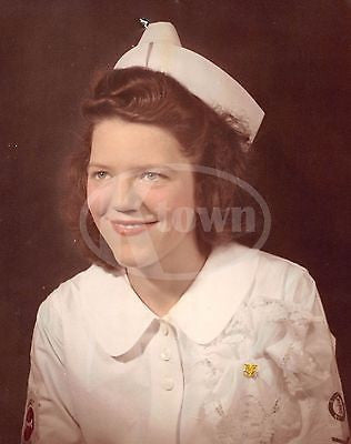 WWII NAVY SCHOOL NURSE WOMAN IN UNIFORM VINTAGE COLOR HEADSHOT PHOTOGRAPH - K-townConsignments