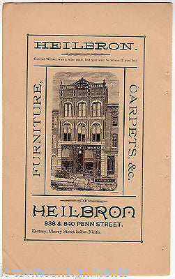 Louis Heilbron Furniture Store Reading PA Antique Graphic Advertising Print    K TownConsignments