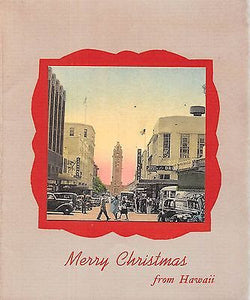 MERRY CHRISTMAS FROM HAWAII ALOHA VINTAGE WWII HAND COLORED PHOTO GREETINGS CARD - K-townConsignments