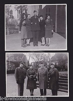 WWII MILITARY OFFICERS & WAC WOMEN IN UNIFORM VINTAGE FUN SNAPSHOT PHOTOS - K-townConsignments