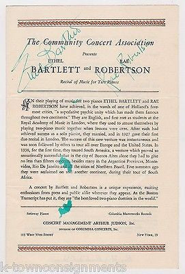 ETHEL BARTLETT RAE ROBERTSON CONCERT PIANIST AUTOGRAPH SIGNED TWO PIANOS PROGRAM - K-townConsignments