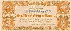 DR HESS CATTLE LIVESTOCK BOOK ANTIQUE FAKE MONEY ADVERTISING COUPON & MAILER - K-townConsignments