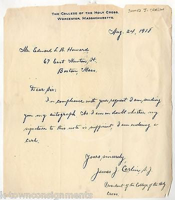 JAMES CARLIN HOLY CROSS COLLEGE PRESIDENT AUTOGRAPH SIGNED STATIONERY LETTER - K-townConsignments