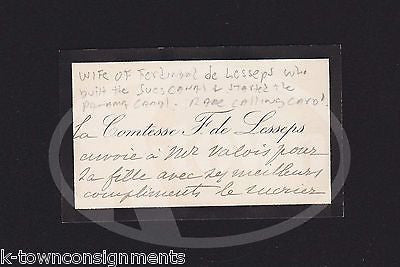 Mrs FERDINAND DE LESSEPS SUEZ CANAL FRENCH DIPLOMAT'S WIFE SIGNED CALLING CARD - K-townConsignments