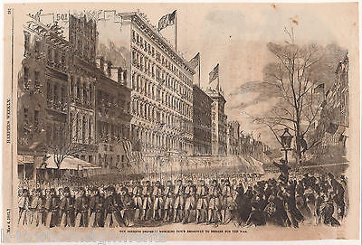 NEW YORK 7th REGIMENT ON BROADWAY CIVIL WAR ANTIQUE ENGRAVING ART PRINT 1861 - K-townConsignments