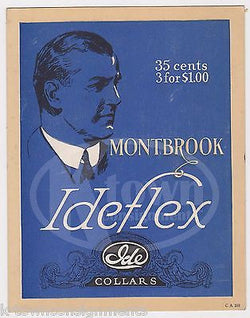 MONTBROOK IDEFLEX MENS FINE IDE COLLARS VINTAGE CLOTHS GRAPHIC ADVERTISING CARD - K-townConsignments