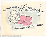MOTHER SANG A LULLABY VINTAGE GRAPHIC ILLUSTRATED KIDS NURSERY RHYMES SONG BOOK - K-townConsignments