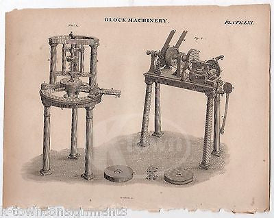 EARLY WOODWORKING TABLE SAW & DRILL PRESS ANTIQUE GRAPHIC ENGRAVING PRINT 1832 - K-townConsignments