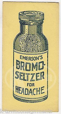 EMERSONS BROMO SELTZER HEADACHE MEDICINE ANTIQUE GRAPHIC ADVERTISING INK BLOTTER - K-townConsignments