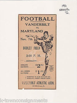 VANDERBILT VS MARYLAND COLLEGE FOOTBALL GAME ANTIQUE NEWS PRINT ADVERTISING 1931 - K-townConsignments