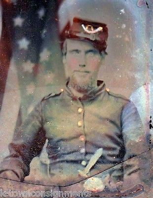 UNION CAVALRY CIVIL WAR SOLDIER IN UNIFORM BY AMERICAN FLAG AMBROTYPE PHOTOGRAPH - K-townConsignments