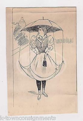 VICTORIAN LADY'S DRESS UMBRELLA INVENTION ORIGINAL POLITICAL CARTOON INK SKETCH - K-townConsignments