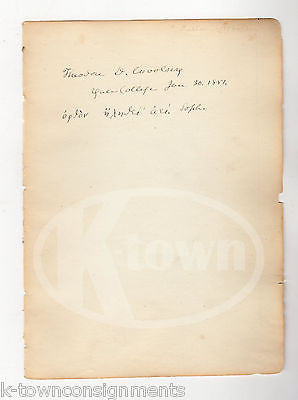 THEODORE WOOSLEY YALE PRESIDENT PROFESSOR AUTHOR ANTIQUE AUTOGRAPH SIGNATURE - K-townConsignments
