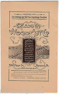 Reading Woodcut Company Reading PA Antique Graphic Advertising Engraving Print - K-townConsignments