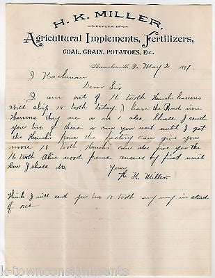 HK MILLER AGRICULTURAL IMPLEMENTS COAL GRAIN ANTIQUE ADVERTISING LETTER 1891 - K-townConsignments