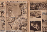 WWII GERMAN INVASION MAPS VINTAGE PHILADELPHIA INQUIRER PICTURE NEWSPAPER 1944 - K-townConsignments