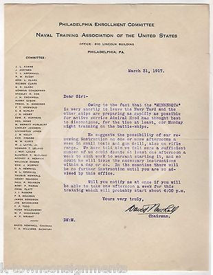 WWI MOBILIZATION NAVAL TRAINING CHAIRMAN PHILADELPHIA AUTOGRAPH SIGNED LETTER - K-townConsignments