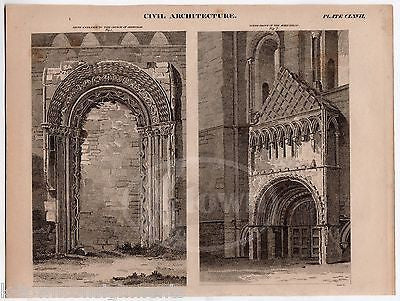 ABBEY KELSO JEDBURGH CHURCH ANTIQUE GRAPHIC ENGRAVING ARCHITECTURE PRINT 1832 - K-townConsignments