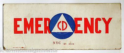 CD CIVILIAN DEFENSE LONG ISLAND NEW YORK CITY ORIGINAL EMERGENCY VEHICLE ID SIGN - K-townConsignments